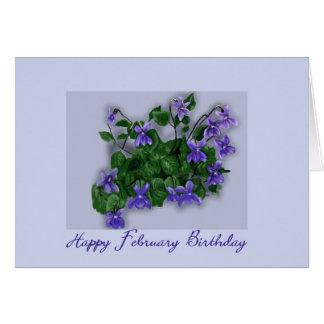 February Birthday Wild Violets Card