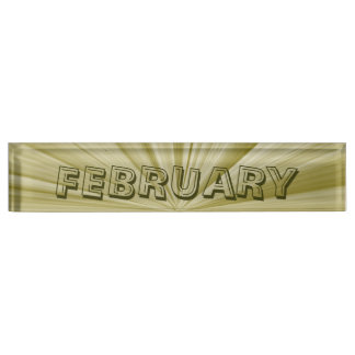 February Gold Star Desk Nameplate