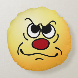 Fed Up Smiley Face Grumpey Round Cushion