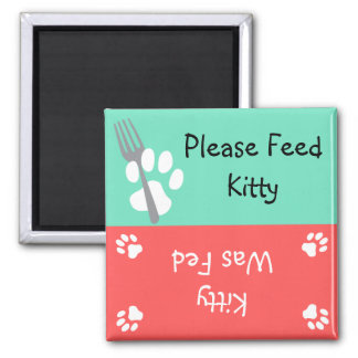 Feed the Cat Square Magnet