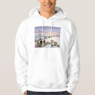 Feeding sheep in winter hoodie