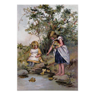"""Feeding the Ducks"" Vintage Poster"