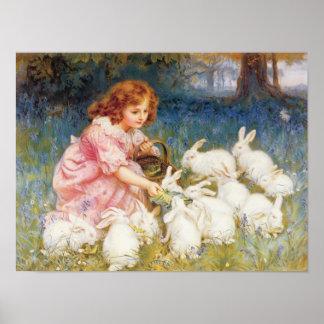 Feeding the Rabbits Poster