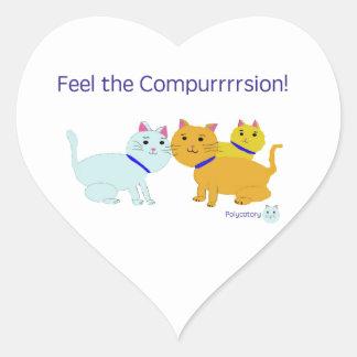Feel the compurrrsion! heart sticker