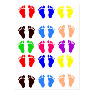 Feet of colors, colorful, funny tracks postcard