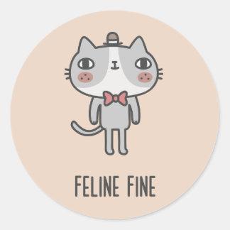 Feline Fine Classic Round Sticker
