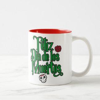 Feliz Dia de los Muertos Two-Tone Coffee Mug