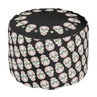 Feliz Muertos - Festive Sugar Skull Pattern Pouf