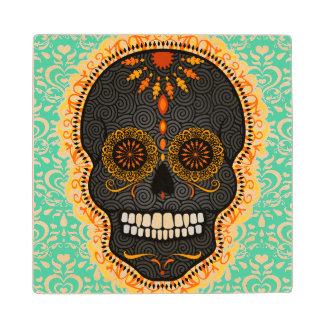Feliz Muertos - Festive Sugar Skull Wood Coasters