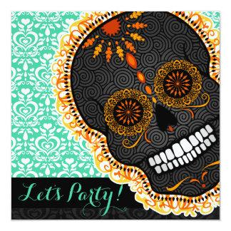 Feliz Muertos Tilted Orange Sugar Skull on Teal Card