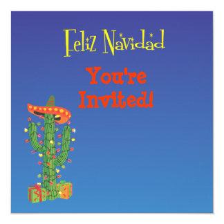 Feliz Navidad Cactus with Sombero Christmas 13 Cm X 13 Cm Square Invitation Card