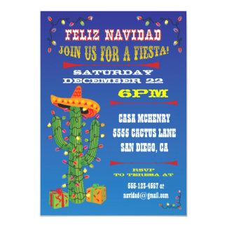 Feliz Navidad Cactus with Sombrero 13 Cm X 18 Cm Invitation Card