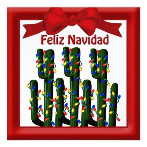 Feliz Navidad Desert Christmas Cactus Greeting Custom Announcements