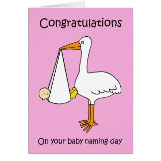 Female  baby naming day congratulations. card