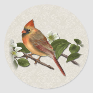 Female Cardinal and Dogwood Sticker