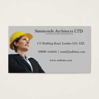 Female In Builder Hat Business Card