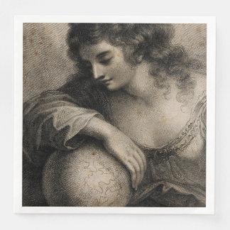Female Portrait Woman Globe Vintage Engraving Disposable Serviettes