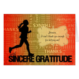 Female Runner Sports Themed Thank You Card