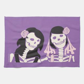 Female Skeleton Couple Tea Towel