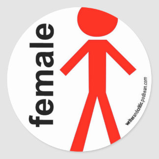 Female Stick Figure Classic Round Sticker