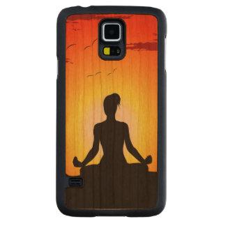 Female Yoga Meditating Sunshine Carved Cherry Galaxy S5 Case