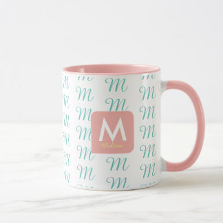 feminine pink mug for her with pattern of initial