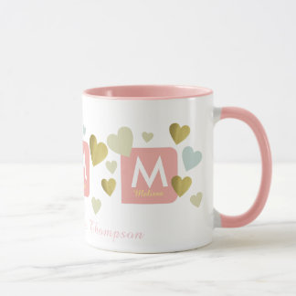 feminine pink mug for her with romantic hearts