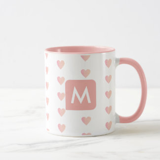 feminine pink mug with her initial (custom M)