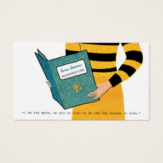 Feminine Retro Bookkeeper Woman Financial Advisor Business Card