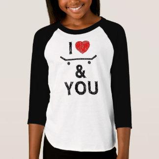 """Feminine shirt mango 3/4 """"I love skate & you """""""