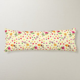 Feminine Watercolor Hearts and Flowers Body Pillow