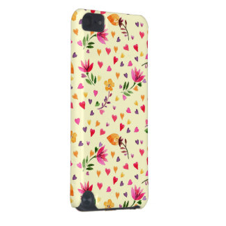 Feminine Watercolor Hearts and Flowers iPod Touch (5th Generation) Covers