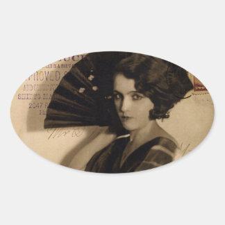 Femme Fatale in Sepia Oval Sticker