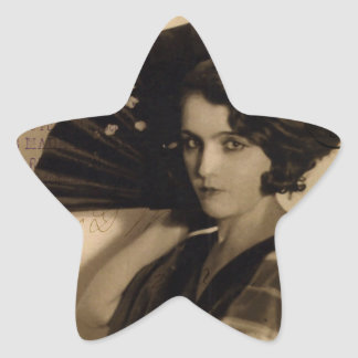 Femme Fatale in Sepia Star Stickers