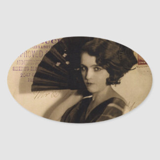 Femme Fatale in Sepia Oval Stickers