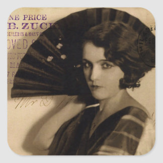Femme Fatale in Sepia Square Sticker