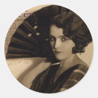 Femme Fatale in Sepia Round Sticker