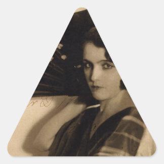 Femme Fatale in Sepia Triangle Sticker