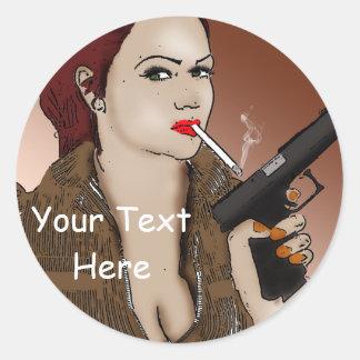 Femme Fatale - Smoking and Guns Round Sticker