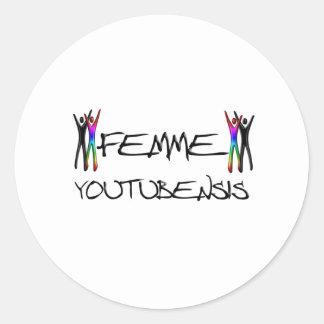 Femme youtube round sticker