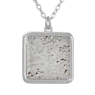 Fern Fossil Tile Surface Closeup Silver Plated Necklace