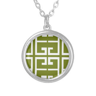 Fern Green and White Tile Silver Plated Necklace