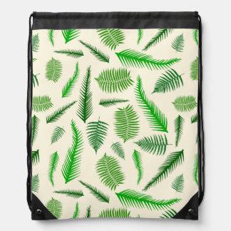 Fern Plant Frond Leaves Pattern Drawstring Bag