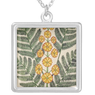 Fern with yellow flowers silver plated necklace