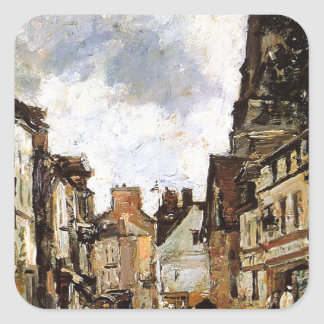 Fervaques, a Village Street by Eugene Boudin Square Sticker
