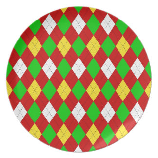 Festive Argyle Dinner Plate