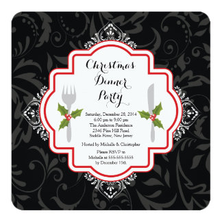 "Festive Christmas Dinner Party Invitation 5.25"" Square Invitation Card"