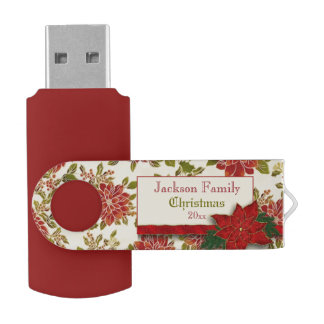 Festive Christmas Poinsettias and Holly USB Flash Drive