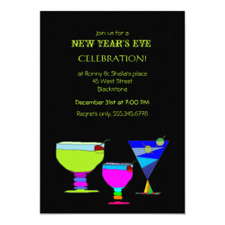 Festive Cocktails New Year Eve Party Card
