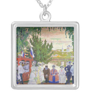 Festive Gathering, 1910 Silver Plated Necklace
